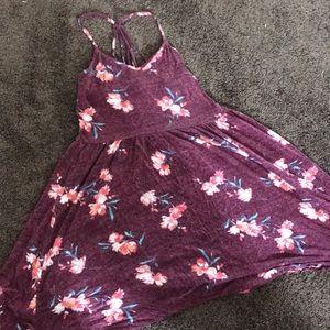 Burgundy floral skater dress